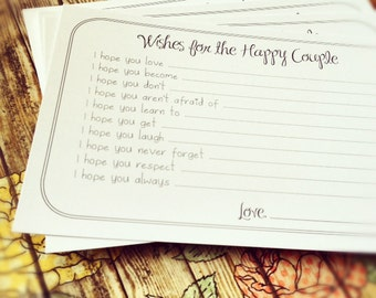 Set Of 100 Professionally Printed Wishes For The Happy Couple Cards