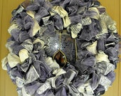 Purple, Silver and White Christmas Ribbon Wreath