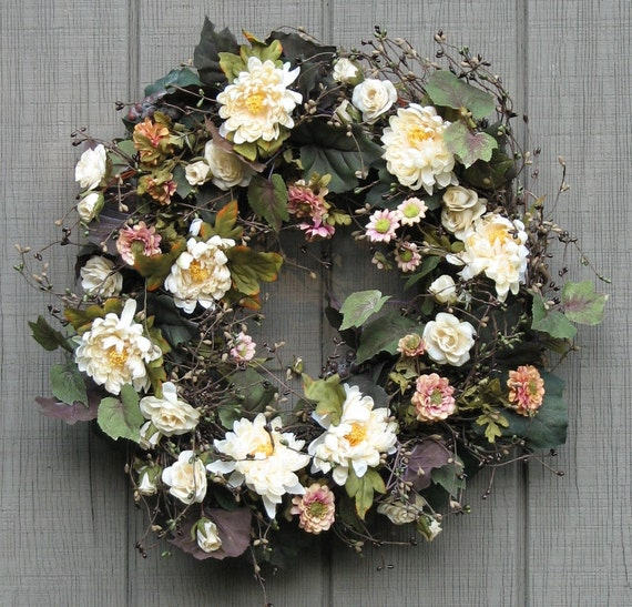Sale - Door Wreath-Grapevines and Flowers-Front Door Wreath