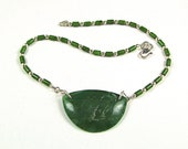Unique OOAK Green Nephrite Jade Sterling Silver Necklace - N32