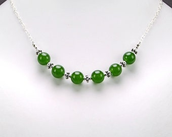 Green Canadian (B.C.) Jade & Sterling Silver Necklace - N457A
