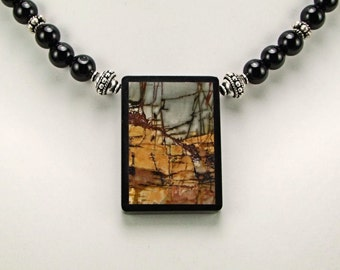 Striking Multicolor Picasso Jasper Intarsia Necklace - N299