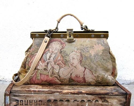Vintage Tapestry Victorian Needlepoint Doctors Bag w/Shoulder Strap