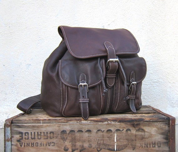 Vintage Pebbled Chocolate Brown Leather Rucksack Backpack