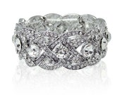 Swarovski rhinestone cuff bracelet - rhodium