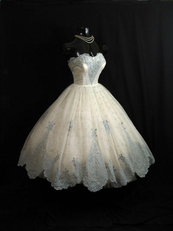 Vintage 1950's 50s Bombshell STRAPLESS Ivory Blue Flocked Floral Chiffon Organza Party Prom Wedding DRESS