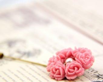 Pink Flower Cluster Brooch