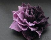 New Aubergine Lavender Ombre Felt Flower Brooch