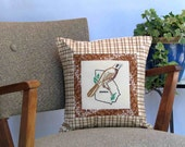 Georgia bird pillow, cabin, cottage, farmhouse decor from vintage hand-embroidered quilt block -- a keepsake gift. Includes pillow form.