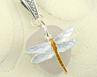 Dragonfly GENUINE Sea Glass Necklace Amethyst Purple Sea Glass