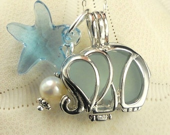 STERLING SILVER Genuine Sea Glass Necklace - Elephant Locket Aqua Sea Glass Starfish And Pearl