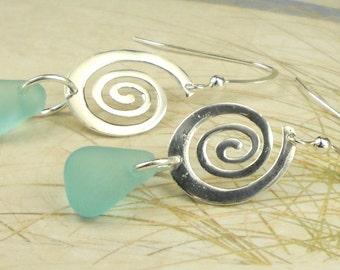 Dangle Earrings,Sterling Silver Spiral Earrings,GENUINE Rare Turquoise Sea Glass Earrings Eco Friendly Jewelry, Beach Earrings, Gift For Her