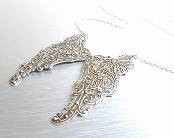 Angel Wings Necklace - antique silver filigree pendants - heavenly intricate detail swirl design w/ delicate silver chain
