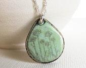 Necklace Enamel Sterling Silver - Lichen Green Gray Flower Nature Print Enamel Jewelry