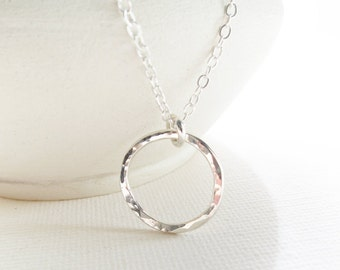 Eternity Silver Necklace, Metalwork Silver, Silver Circle Necklace, Everyday Necklace, Classic Silver Jewelry