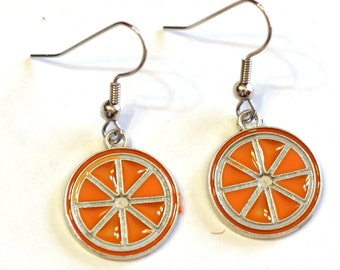 Orange Citrus Fruit Enamel Charm Metal Earrings