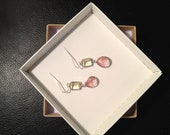 The Pink Lemonade- Silver Yellow and Pink Earrings