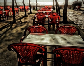 Vietnam Photography, Red, Chairs, Springtime, Seaside, Ocean View, Fine Art Color Photography, 11x14
