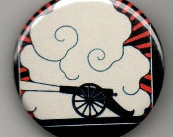"""Patriotic Canon 1.25"""" Pin Back Button Deco Style"""