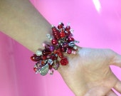 Red, Crimson, Scarlet, Silver and Skull Beaded Bracelet
