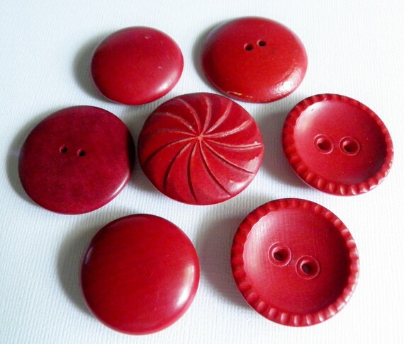 VIntage Large Red Wood Button Lot