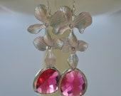 Pink Earrings Orchid Flower in Sterling Silver Earwires Bridesmaid Dangle Set of 1, 2, 3, 4 ,5 ,6 ,7 ,8 ,9 10 11 12