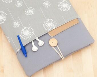 iPad sleeve, iPad air cover, iPad Pro case, padded  -  Dandelion in grey with pockets -