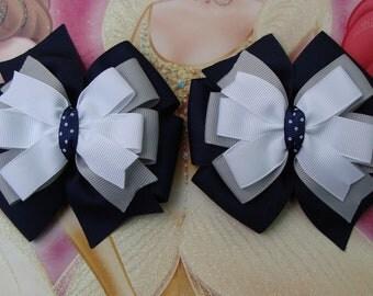 2 School uniform Hair Bow Navy Hair Bows Navy White and Grey Hair Bows Pigtail Set