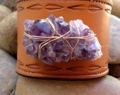 LUX Recycled Stamped Bohemian Stacking Aged Look Leather Raw Natural Untreated Amethyst Gemstone Cuff