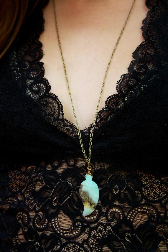 SAMANTHA Gypsy Amazonite Brass Long Layering Festival Necklace