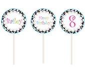 Rainbow Cupcake Toppers -  cheetah cupcake toppers -- girls party cupcake toppers