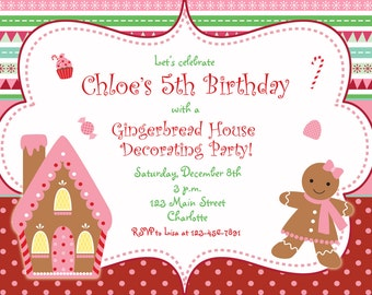 Gingerbread house Christmas party invitation  - Christmas birthday party -- gingerbread house, candy, gum drops