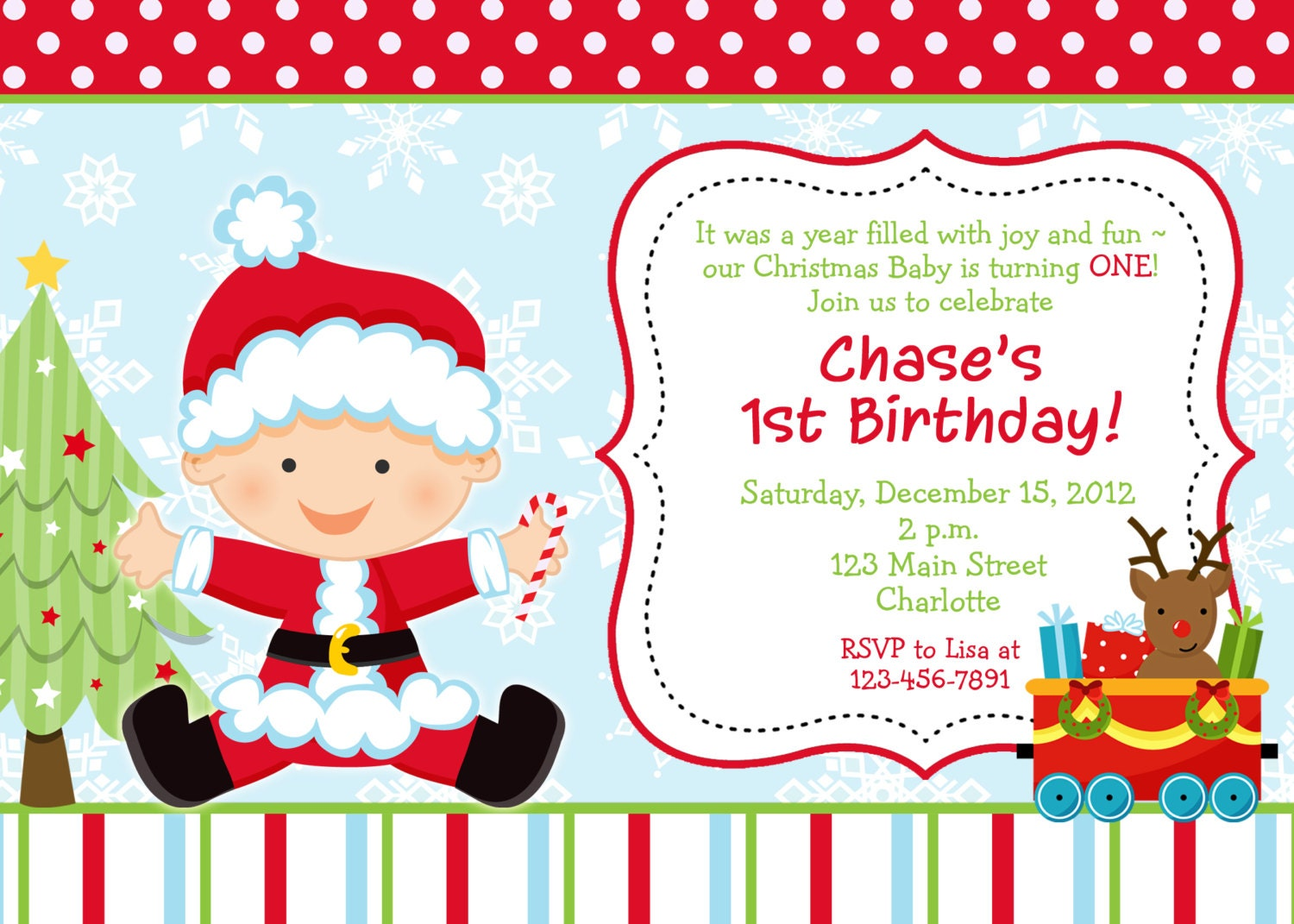 First birthday Christmas party invitation by TheButterflyPress: https://www.etsy.com/listing/112952464/first-birthday-christmas-party
