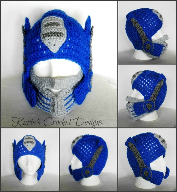 Crochet Pattern For Optimus Prime Hat : Transformers Optimus Prime Photo Prop Handmade Crochet Hat