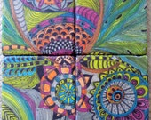 COASTERS HANDMADE travertine tile coasters with original artwork-set of 4 orange blue green pink