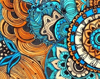 PAISLEY Fine Art Print Reproduction 5x7 black ink and acrylic painting blue brown peach by devikasart