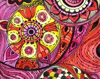 Fine Art PRINT Chakras -yellow pink orange circles 5x7 REPRODUCTION