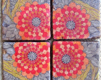 HANDMADE TILE Coasters handmade Poppy design -set of 4 orange red yellow