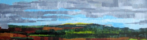 """LANDSCAPE ORIGINAL Abstract painting 12""""x36"""" green blue gray"""