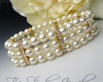 Three Strand Ivory Pearl Bracelet with Gold Rhinestone Spacers - KARA