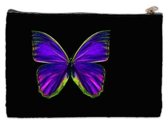 Purple and black butterfly cosmetic bag, makeup bag, purple,black , butterfly cosmetic makeup bag