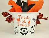 Halloween Personalized Bucket -Three Little Pumpkin Faces with Trick or Treat Design and Black Gingham Ribbon