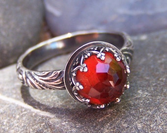 Harvest - 8mm Round Rose Cut Hessonite Garnet in Heart Crown Bezel Sterling Silver Ring