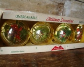 Vintage Jewel Brite Ornament Set of 4 Reflected Flower Poinsettia Christmas Plastic