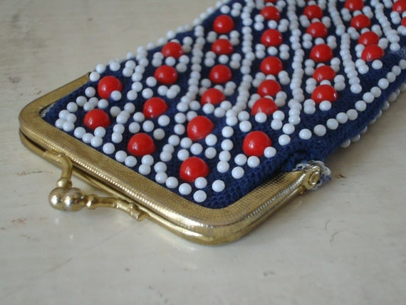 Vintage Beaded Red White Blue Coin Purse  1960's-70's