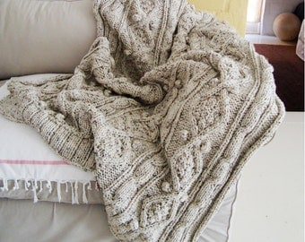 KNITTING PATTERN for chunky cable knit throw