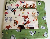 Bright Eyed and Bushy Tailed Fabric Woodland Scene with Cream Minky Security Blanket Lovey
