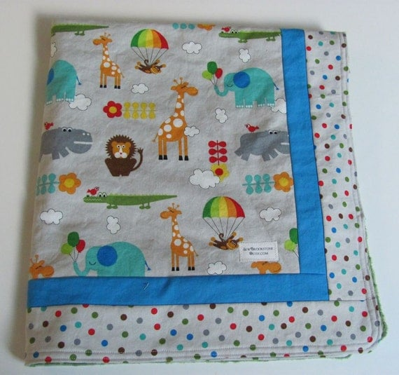 Moda's Bungle Jungle Fabric backed with Gray Minky Stroller Blanket