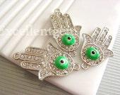 Sale-5pcs High quality silver tone with green evil eye,clear rhinestone Hands of Fatima Hamsa Bracelet Connector