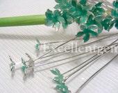 Earwire 10 Silver Plated Enamel Flower Earwire in lake blue color
